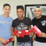 Lyle, Jamaine and Rudi from Polo Club flight packs in hand