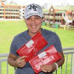 Nakita Elmira collecting flight packs for her and Joanne Coetzer